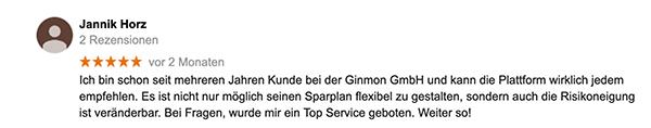 Ginmon Test: Kunden Erfahrung Sparplan