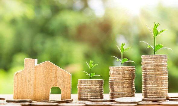 Holzhaus mit Münzen und Pflanzenwachstum
