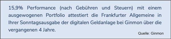 Ginmon Test Rendite Sieger laut Frankfurter Allgemeine Zeitung